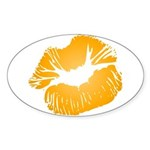 Big Orange Lips Oval Sticker (50 pk)