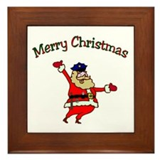 Police Officer Santa Framed Tile