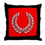 red with silver laurel Throw Pillow