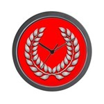 red with silver laurel Wall Clock