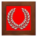 red with silver laurel Framed Tile