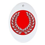 red with silver laurel Oval Ornament