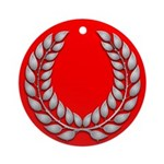 red with silver laurel Ornament (Round)