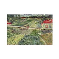 Van Gogh Farm Fields Rectangle Magnet