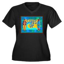 Hawaiian Women's Plus Size V-Neck Dark T-Shirt
