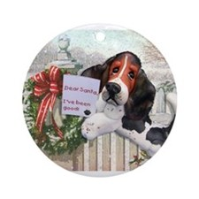 Unique Basset christmas Ornament (Round)