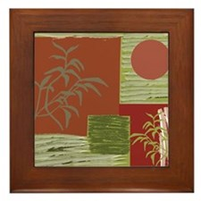 Asian Fabric Framed Tile