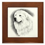 Great Pyrenees Headstudy Framed Tile