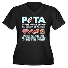 pEATa Women's Plus Size V-Neck Dark T-Shirt