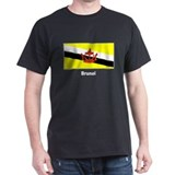 Brunei Flag (Front) Black T-Shirt