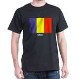 Chad Flag (Front) Black T-Shirt