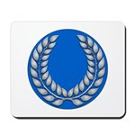 Blue with silver laurel Medallion or Mousepad