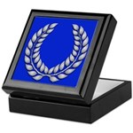 Blue with silver laurel Medallion or Keepsake Box