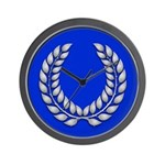 Blue with silver laurel Medallion or Wall Clock