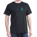 Teal with Black laurel Black T-Shirt