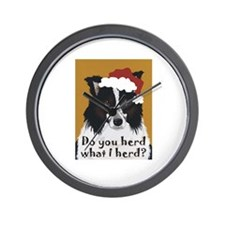 Border Collie DO YOU HERD? Wall Clock
