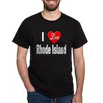 I Love Rhode Island (Front) Black T-Shirt