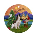 English Springer Xmas Fantasy Ornament (Round)