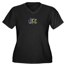 Ukulele Lover Women's Plus Size V-Neck Dark T-Shi