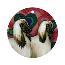 AFGHAN HOUND DOGS HEARTS LOVE Ornament (Round)