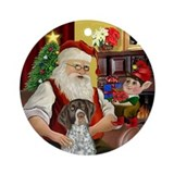 Santa &amp; His German SH Pointer Ornament (Round)