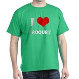 I Love Croquet Black T-Shirt