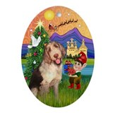 Italian Spinone Xmas Fantasy Oval Ornament