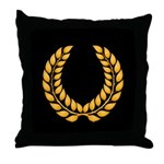 Black with Gold laurel Throw Pillow