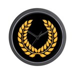 Black with Gold laurel Wall Clock