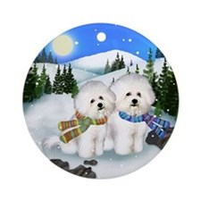 Bichon Frise Dogs Winter Ornament (Round)