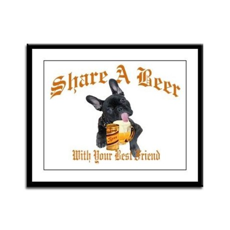 French Bulldog Shares Beer Framed Panel Print