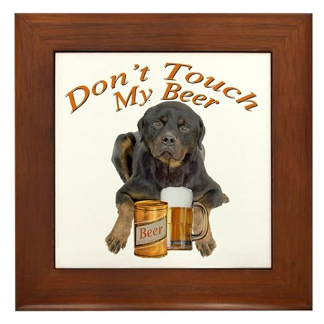 Rottweiler Don't Touch My Bee Framed Tile