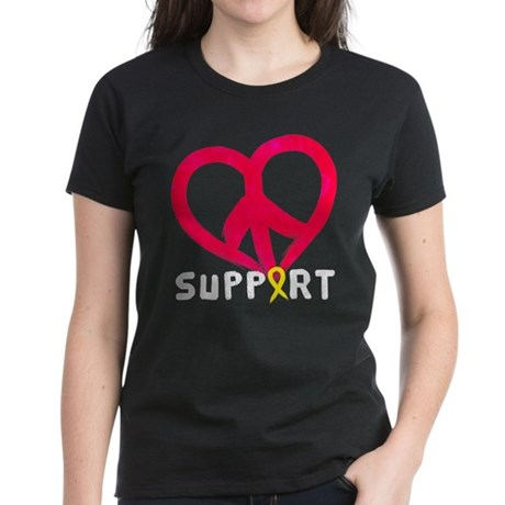 Support (Peace Love) Women's Dark T-Shirt