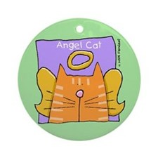 Orange Tabby Cat Angel Ornament (Round)