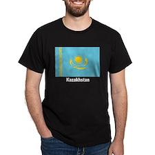 Kazakhstan Flag (Front) Black T-Shirt