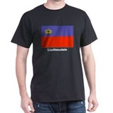 Liechtenstein Flag (Front) Black T-Shirt