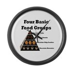 Four Basic Food Groups Large Wall Clock