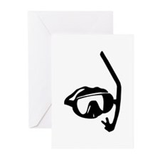 diving goggles and snorkel Greeting Cards (Pk of 1