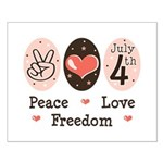 Peace Love Freedom July 4th Small Poster