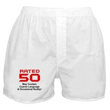 Funny 50th Gifts, Rated 50 Boxer Shorts
