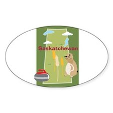 Saskatchewan Map Oval Sticker (10 pk)