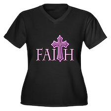 Woman of Faith Women's Plus Size V-Neck Dark T-Shi