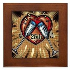 25th Wedding Anniversary Framed Tile