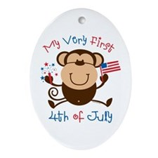 My 1st 4th Boy Monkey Oval Ornament