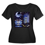 blues moon Women's Plus Size Scoop Neck Dark T-Shi
