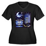 blues moon Women's Plus Size V-Neck Dark T-Shirt