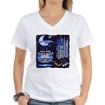 blues moon Women's V-Neck T-Shirt