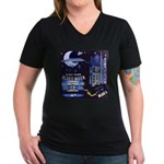 blues moon Women's V-Neck Dark T-Shirt
