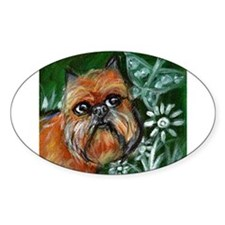 Brussels Griffon eyes butterf Oval Sticker (10 pk)
