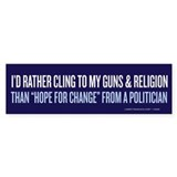 Clinging to Guns &amp; Religion Bumper Bumper Sticker